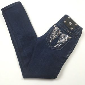 Miss Me Straight Embellished Angel Wings Jeans